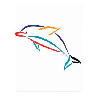 Dauphin multicolore carte postale