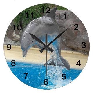 Dauphin sautant grande horloge ronde