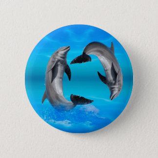 Dauphins de Yin Yang Badge Rond 5 Cm