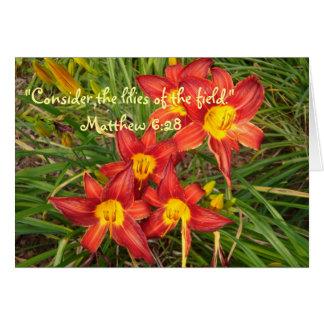 Daylilies et un vers inspiré de bible carte