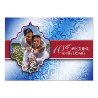 de 10de foto van de huwelijksverjaardag nodigt uit persoonlijke aankondiging
