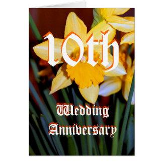 de 10de kaart van de huwelijksverjaardag - Gele na