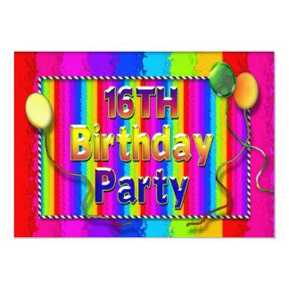 de 16de Abstracte uitnodiging-Kleuren van de 12,7x17,8 Uitnodiging Kaart