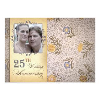 de 25ste foto van de huwelijksverjaardag 12,7x17,8 uitnodiging kaart