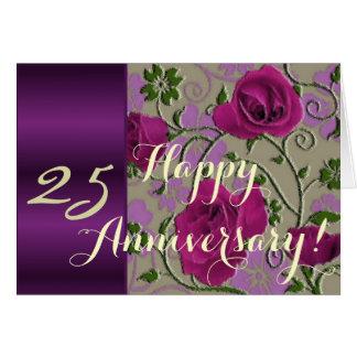de 25ste rozen van de huwelijksverjaardag wenskaart