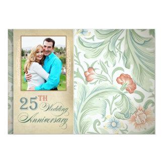 de 25ste uitnodigingen van de huwelijksverjaardag  12,7x17,8 uitnodiging kaart