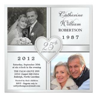 de 25ste Zilveren Uitnodigingen van de Foto van 13,3x13,3 Vierkante Uitnodiging Kaart