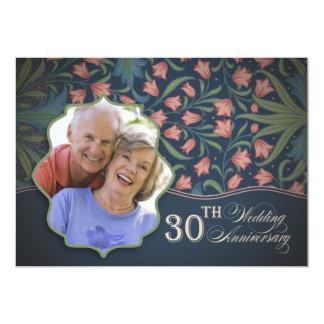 de 30ste foto van de huwelijksverjaardag 12,7x17,8 uitnodiging kaart