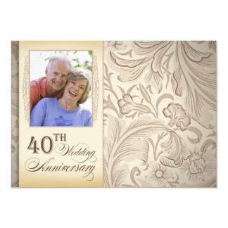de 40ste foto van de huwelijksverjaardag 12,7x17,8 uitnodiging kaart