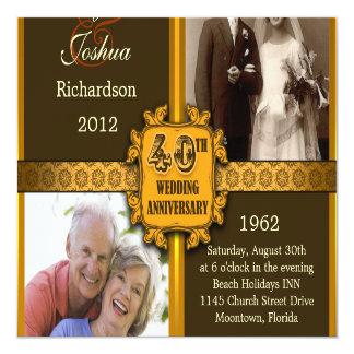 de 40ste uitnodigingen van de huwelijksverjaardag 13,3x13,3 vierkante uitnodiging kaart