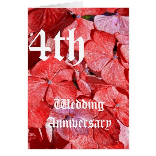 de 4de kaart van de huwelijksverjaardag - Hydranga