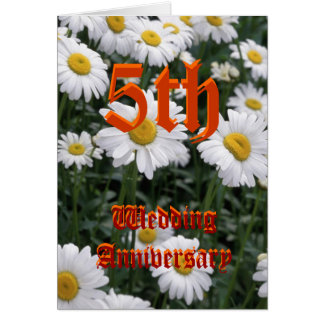 de 5de kaart van de huwelijksverjaardag - Daisy
