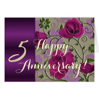 de 5de rozen van de huwelijksverjaardag