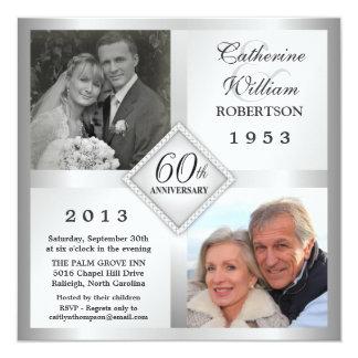 de 60ste Zilveren Uitnodigingen van de Foto van 13,3x13,3 Vierkante Uitnodiging Kaart