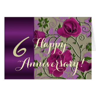 de 6de rozen van de huwelijksverjaardag wenskaart