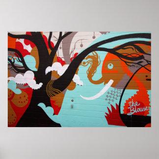 De abstracte Olifant en de Boom van de Kunst Poster