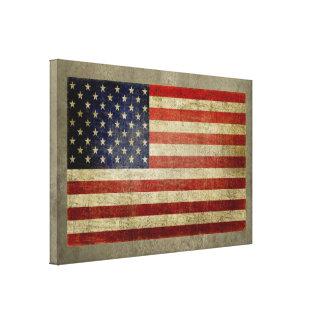 De Amerikaanse Vlag met doorstane wijnoogst, Canvas Afdrukken