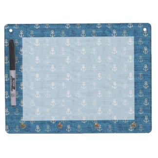 De Ankers van het linnen op Blauw Whiteboard Met Sleutelhanger