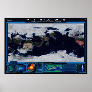 De Atlas van de Planeet van Pirawk Poster