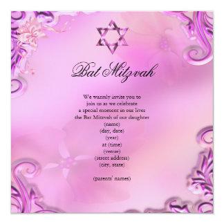De bat mitzvah de fille rose assez floral invitation personnalisée