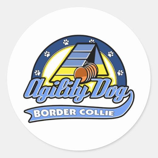De Behendigheid van Border collie van het honkbal Ronde Stickers