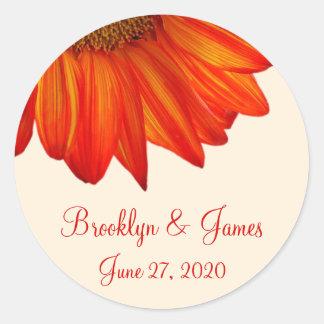 De beige Oranje Zonnebloem van de Stickers van de