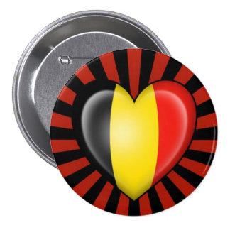 De Belgische Vlag van het Hart met de Uitbarsting  Ronde Button 7,6 Cm