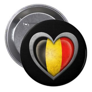 De Belgische Vlag van het Hart met het Effect van  Ronde Button 7,6 Cm