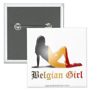 De Belgische Vlag van het Silhouet van het Meisje Vierkante Button 5,1 Cm