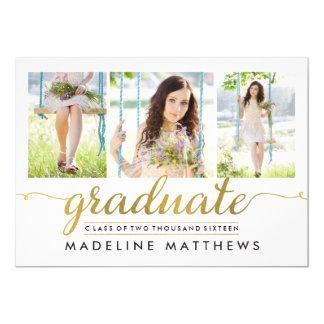 De bevallige Afstuderen van de Kleur van Editable 12,7x17,8 Uitnodiging Kaart