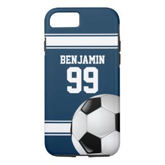 De blauwe en Witte Bal van het Voetbal van Jersey iPhone 8/7 Hoesje