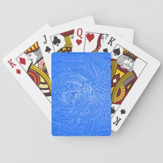De blauwe Hand-drawn Gekke StammenKrabbel van de Speelkaarten
