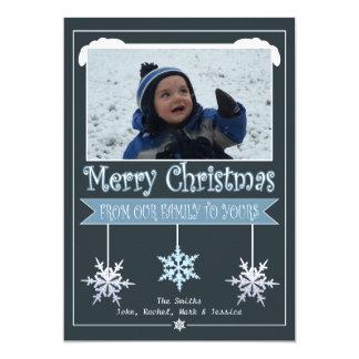 De blauwe Kaart van de Foto van Kerstmis van 12,7x17,8 Uitnodiging Kaart