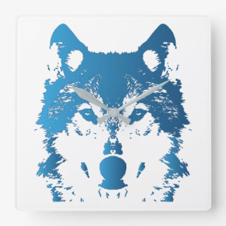De Blauwe Wolf van het Ijs van de illustratie Vierkante Klok