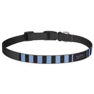 De Blauwe & Zwarte Strepen van de halsband - Naam Huisdier Halsbandje