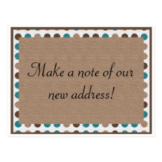 De blauwgroen Bruine Tan Adreswijziging van de Briefkaart