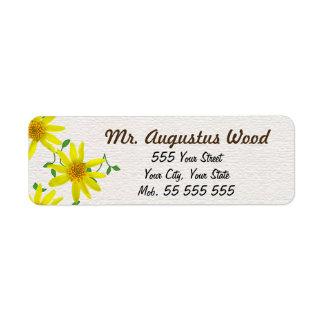 De bloemen Gele Bruine Naam van de Bloem op Witte Etiket