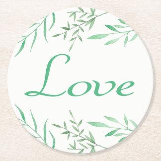 De bloemen Groene Liefde van het Huwelijk van de Ronde Onderzetter