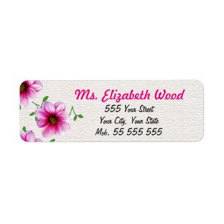 De bloemen Roze Roze Naam van de Bloem op Witte Etiket