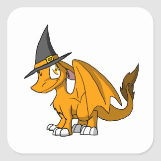 De BontDraak van oranje BR met het Pet van de Heks Vierkante Stickers
