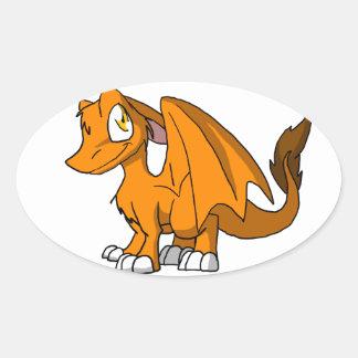 De BontDraak van oranje BR Ovaalvormige Stickers