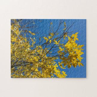 De Boom van de herfst met de Gele Puzzel van Puzzel