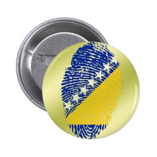 De bosnische vlag van de aanrakingsvingerafdruk ronde button 5,7 cm