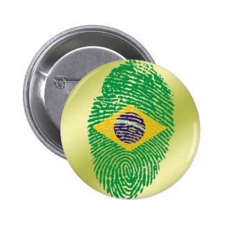 De Braziliaanse vlag van de aanrakingsvingerafdruk Ronde Button 5,7 Cm