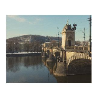 De brug van het Legioen, het Houten Art. van Praag Hout Afdruk