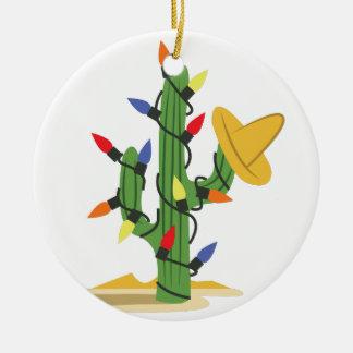 De Cactus van Kerstmis Rond Keramisch Ornament