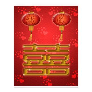De Chinese Vlieger van het Geluk van het Huwelijk  Gepersonaliseerde Folder