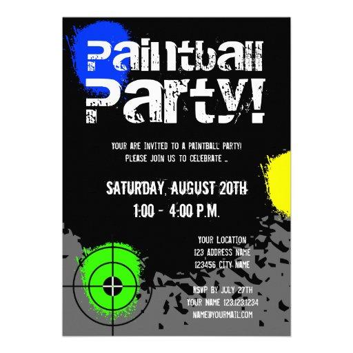 De de partijuitnodigingen van Paintball | Douane n Persoonlijke Aankondiging
