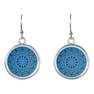 De decoratieve Blauwe Vintage Kleurrijke Oorringen