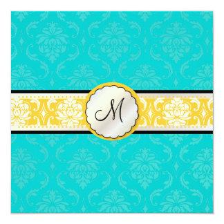 De diy kleuren van PixDezines, Damast Vendome 13,3x13,3 Vierkante Uitnodiging Kaart